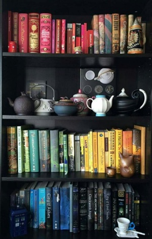 Bookshelf containing books grouped by colour.